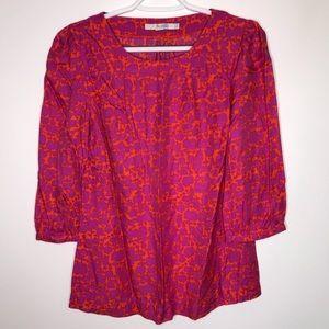 Boden Hempstead pink and orange silk blend blouse